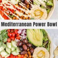 Pinterest pin for Mediterranean power bowl