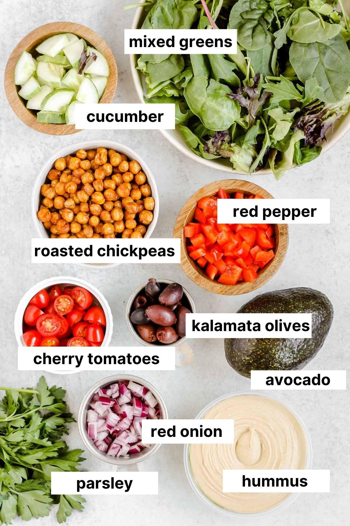 Labeled ingredients used in Mediterranean bowls.