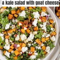 Pinterest pin for roasted butternut squash and kale salad.