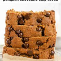 Pinterest pin for healthy gluten-free pumpkin chocolate chip bread.