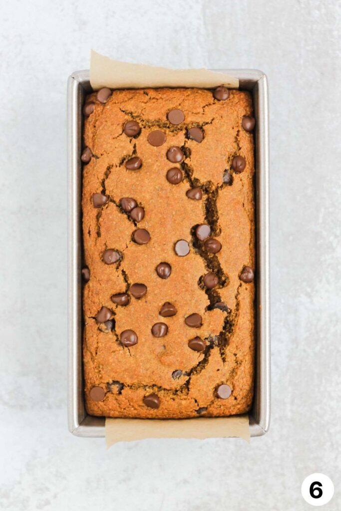 Cooked pumpkin bread in loaf pan.