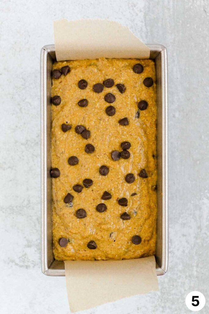Pumpkin bread batter in loaf pan.