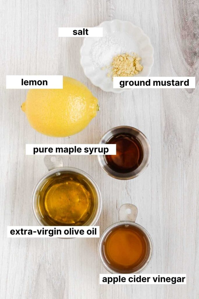 Labeled ingredients for maple vinaigrette dressing.