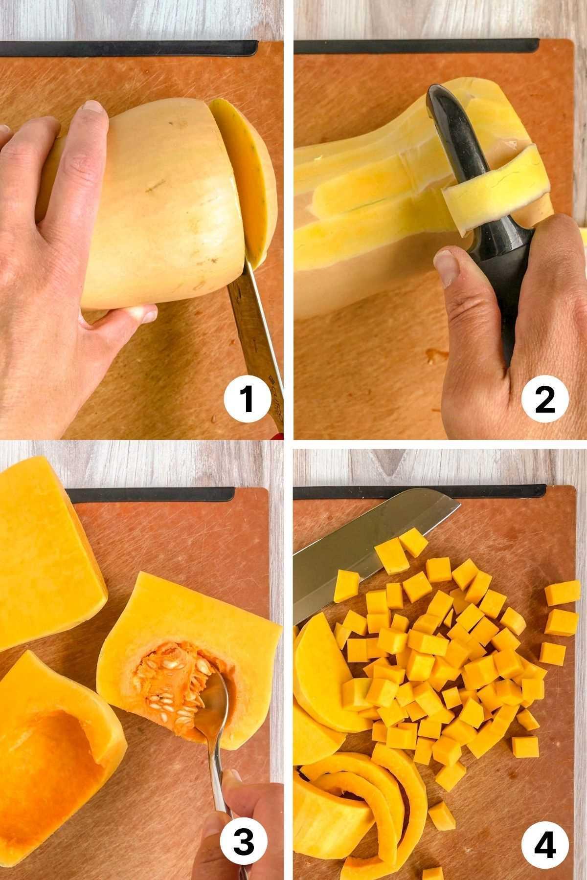 Process shots showing how to cut butternut squash.