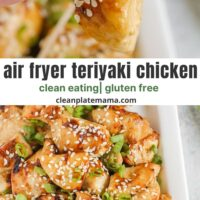 Pinterest pin for air fryer chicken with teriyaki.