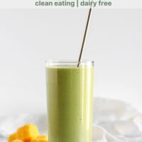 Pinterest pin for the best green smoothie with mango and spinach.